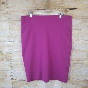 Women's Pink Fuscia Lularoe Cassie Pencil Skirt 2X